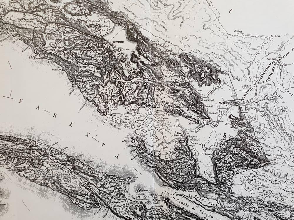 Dolina Neretve na zemljopisnoj karti iz 1927. godine.
